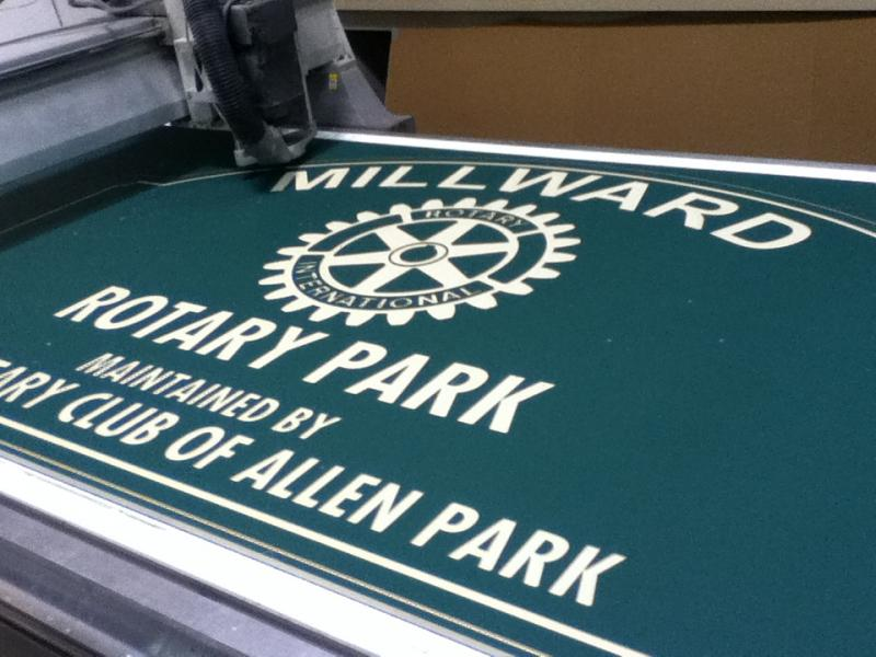 3 D Graphics routed into sign panel